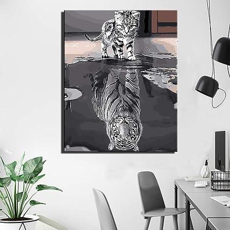 Tigre Et Chat Affiche Murale Gris Couleur Chat Réflexion En ...