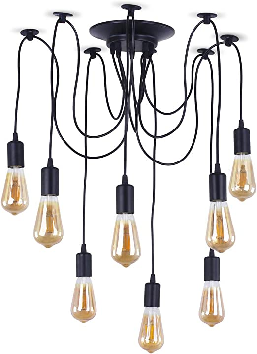 8 Lights Industrial Chandelier Light Spider Vintage Industrial Ceiling Light Edison Pendant Lights