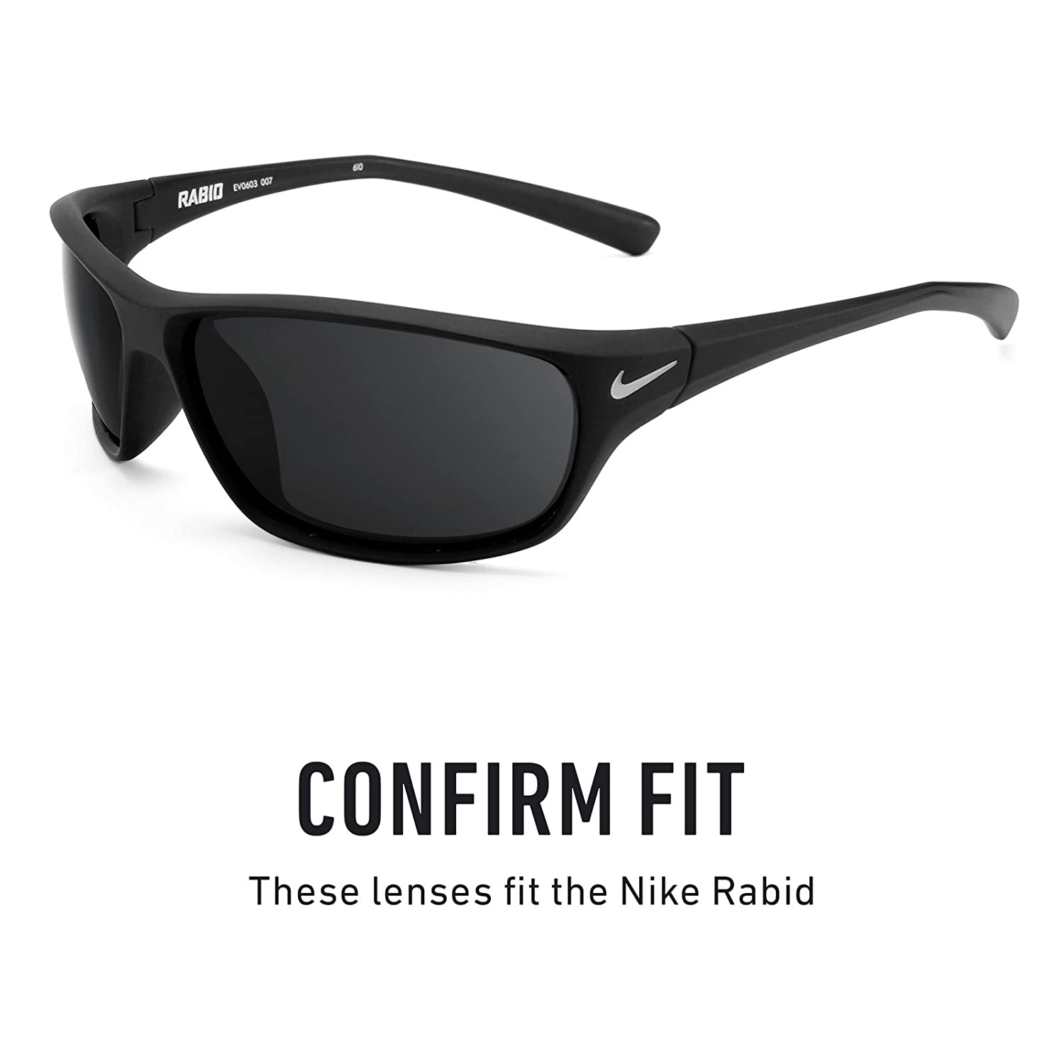 5e67fd9b36c Revant Polarized Replacement Lenses for Nike Rabid Elite Black Chrome  MirrorShield®  Amazon.co.uk  Clothing