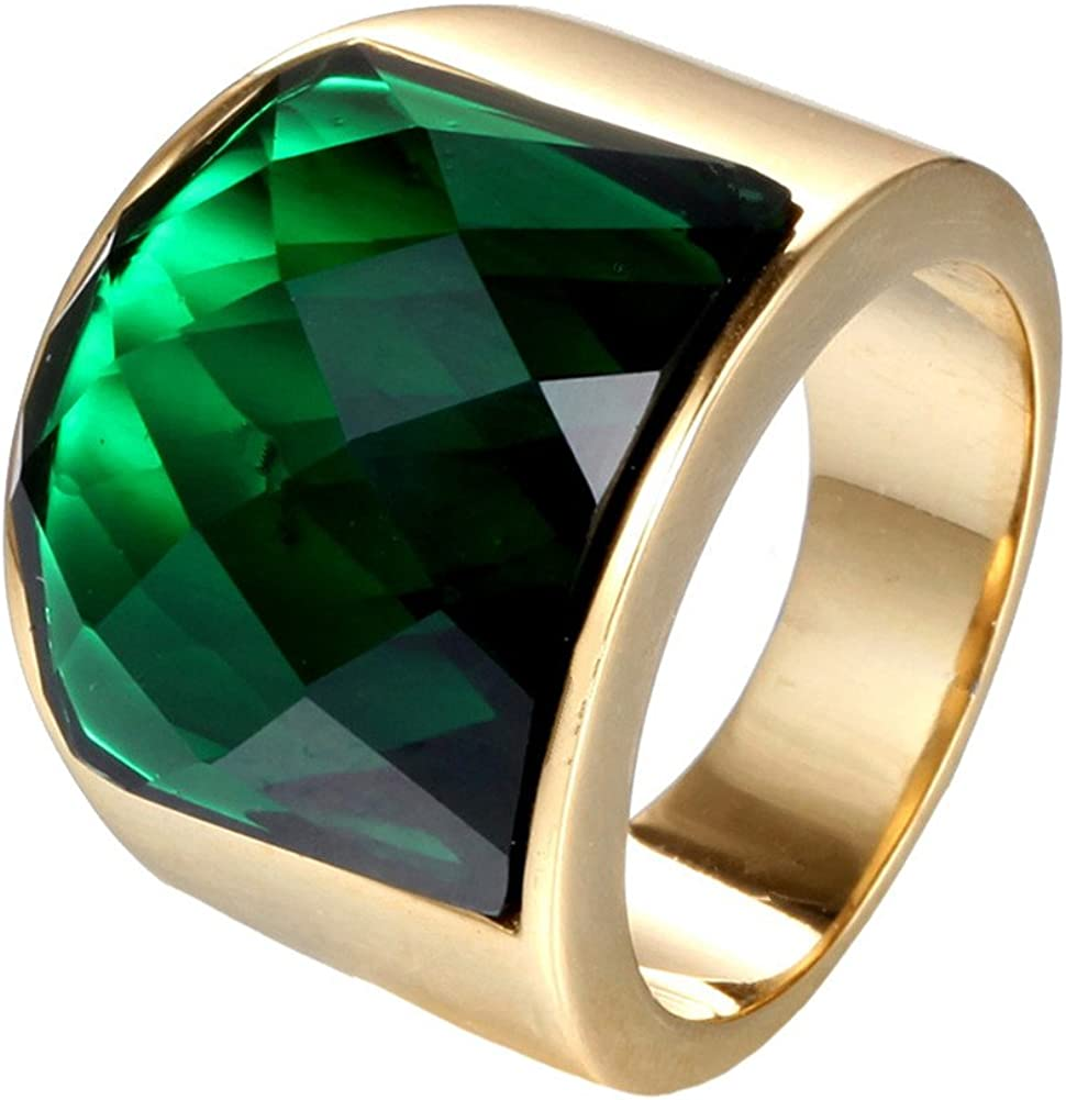 PAURO Hombre Mujer Acero Inoxidable Cuadrado Simple Gran Piedra Preciosa Brillante Anillo Ancho Multi Colores
