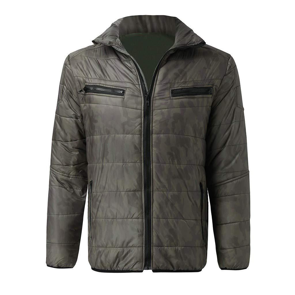 FOTBIMK Veste en Duvet à Manches Longues Unie pour Hommes Manteau léger de qualité supérieure Veste d'hiver zippée Coupe-Vent Automne Chaud I-vert
