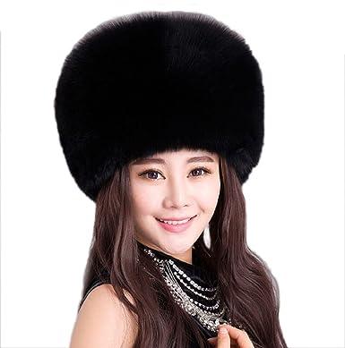 dddea38425d JJ-GOGO Women Winter Faux Fox Fur Cossack Hat Black White Headband (Black