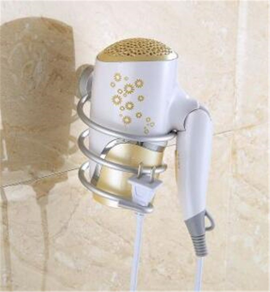 YU-Bathroom SBLE Fashion Multi-Use Aluminum Wall Mounted Hair Dryer Drier Comb Holder Rack Stand Set Storage Organizer Home Use as pictrues3