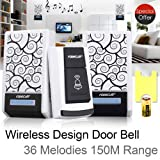 Simply Silver - 36 Music Tune Melody 1 Remote Control 2 Wireless Doorbell Door Bell Receiver