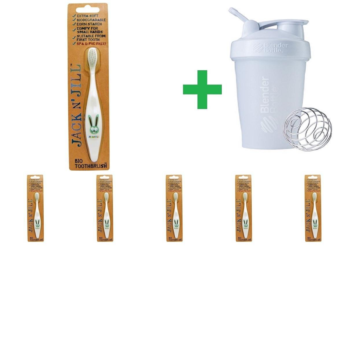 Jack n' Jill, Bio Toothbrush, Bunny, 1 Toothbrush(6 Packs)+ Assorted Sundesa, BlenderBottle, Classic With Loop, 20 oz by Jack n' JillToothbrush