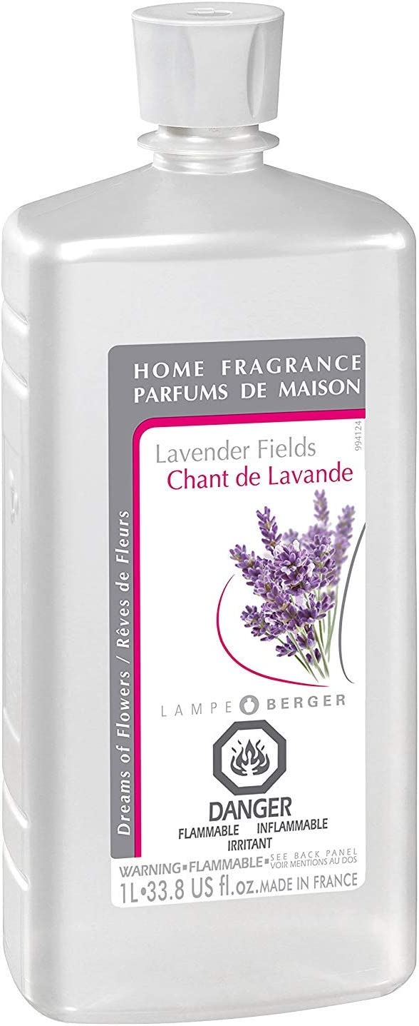 Lavender FIelds | Lampe Berger Fragrance Refill for Home Fragrance Oil Diffuser | Purifying and perfuming Your Home | 33.8 Fluid Ounces - 1 Liter | Made in France