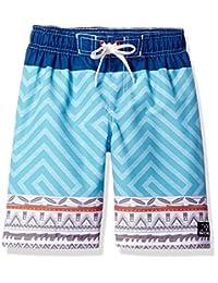 Big Chill Little Boys Tribal GEO Color Block Swim Trunk Rashguard, Navy, 5