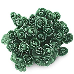 SOLEDI 15 Heads Roll Heart Roses Foam Flower Arrangement Artificial Fake Bouquet Wedding Home Garden Decor 8
