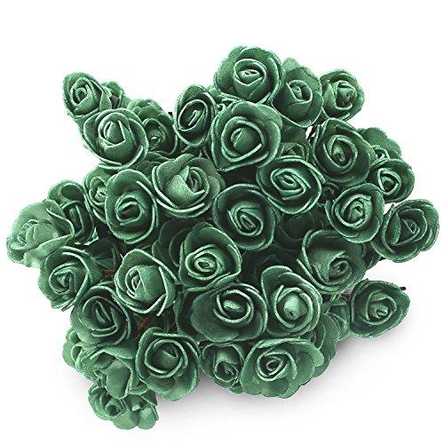 SOLEDI 15 Heads Roll Heart Roses Foam Flower Arrangement Artificial 5 Bundles(75 flowers)(Green)