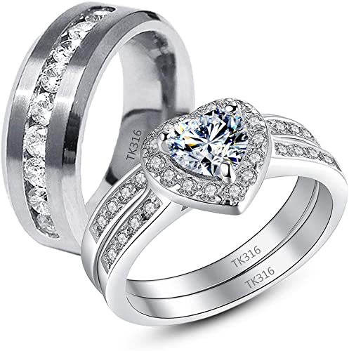His and Hers Wedding Band 7mm Stainless Steel Men Women Wedding Rings Size 6 to 14 Two Souls One Heart Couples Ring Set