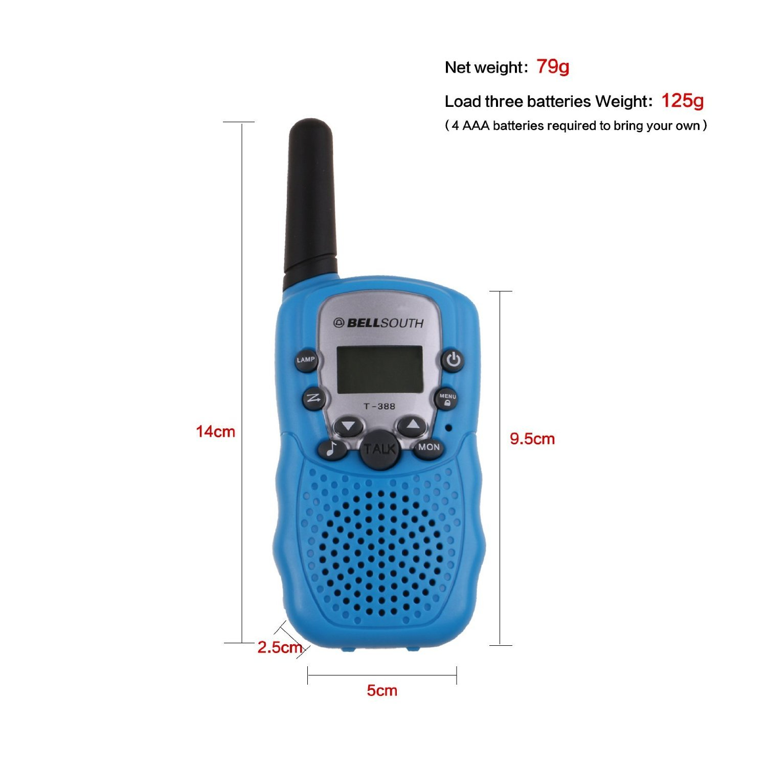 Amazon.com: BELLSOUTH T388 2 Piece T-388 3-5KM 22 FRS and GMRS UHF ...