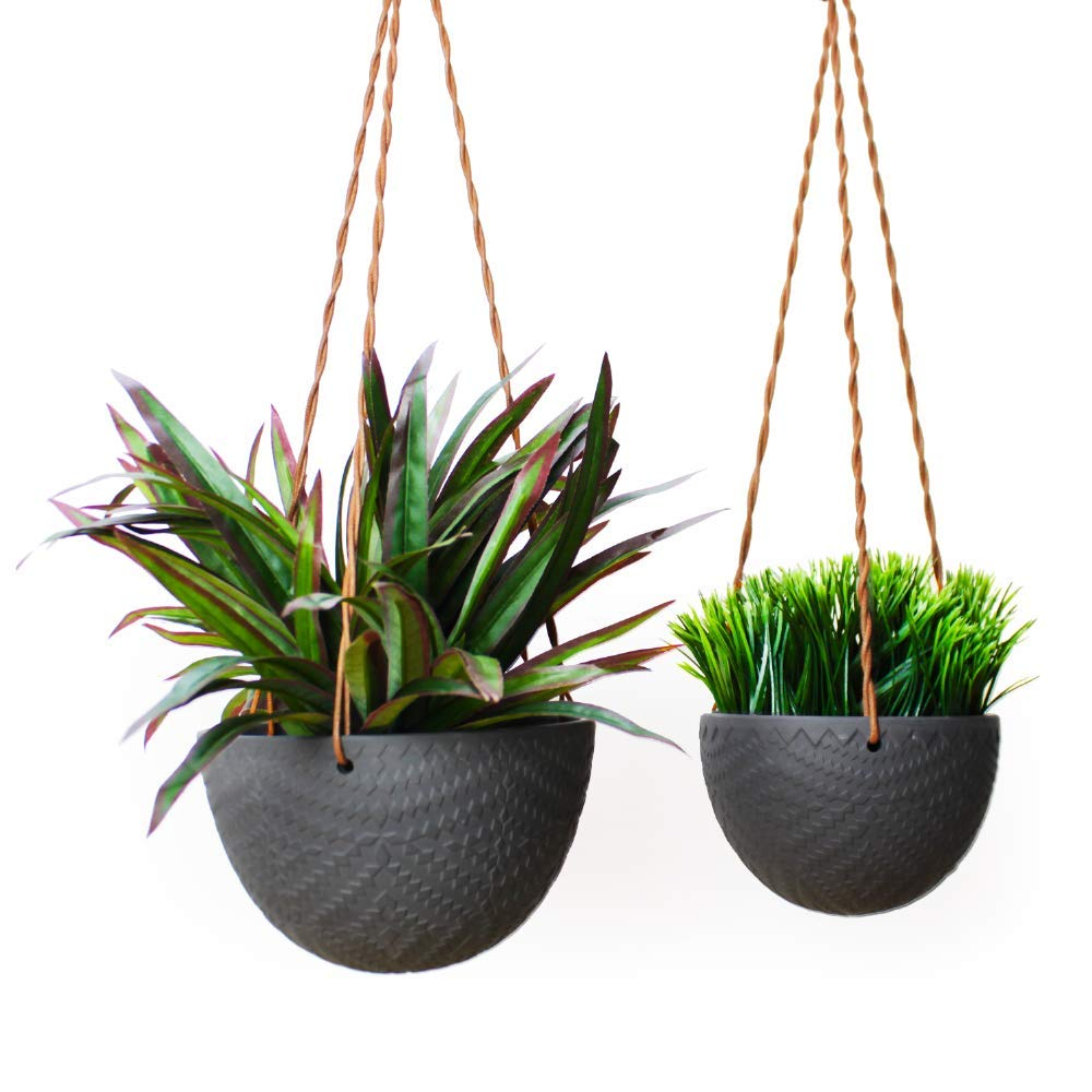 Slice of Goodness Hanging Planter – Holder Pot for Plants, Flowers, Succulents – Ceramic Modern Design for Indoor Decor and Outdoor Garden, Patio – Plant Not Included – Black – Set of 2 Small, Large