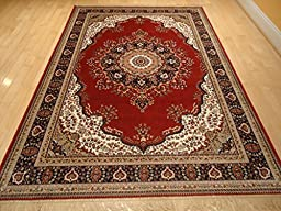 Silk Red Persian Area Rug Traditional Area Rugs 5x8 Living Room Shiny Silk 5x7 Rug