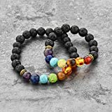 MYSTIQS Lava Rock and Chakra Beaded Bracelet Essential Oil Diffuser for Men and Women 7.8 in Aromatherapy Ideal for Anti-stress or Anti-anxiety