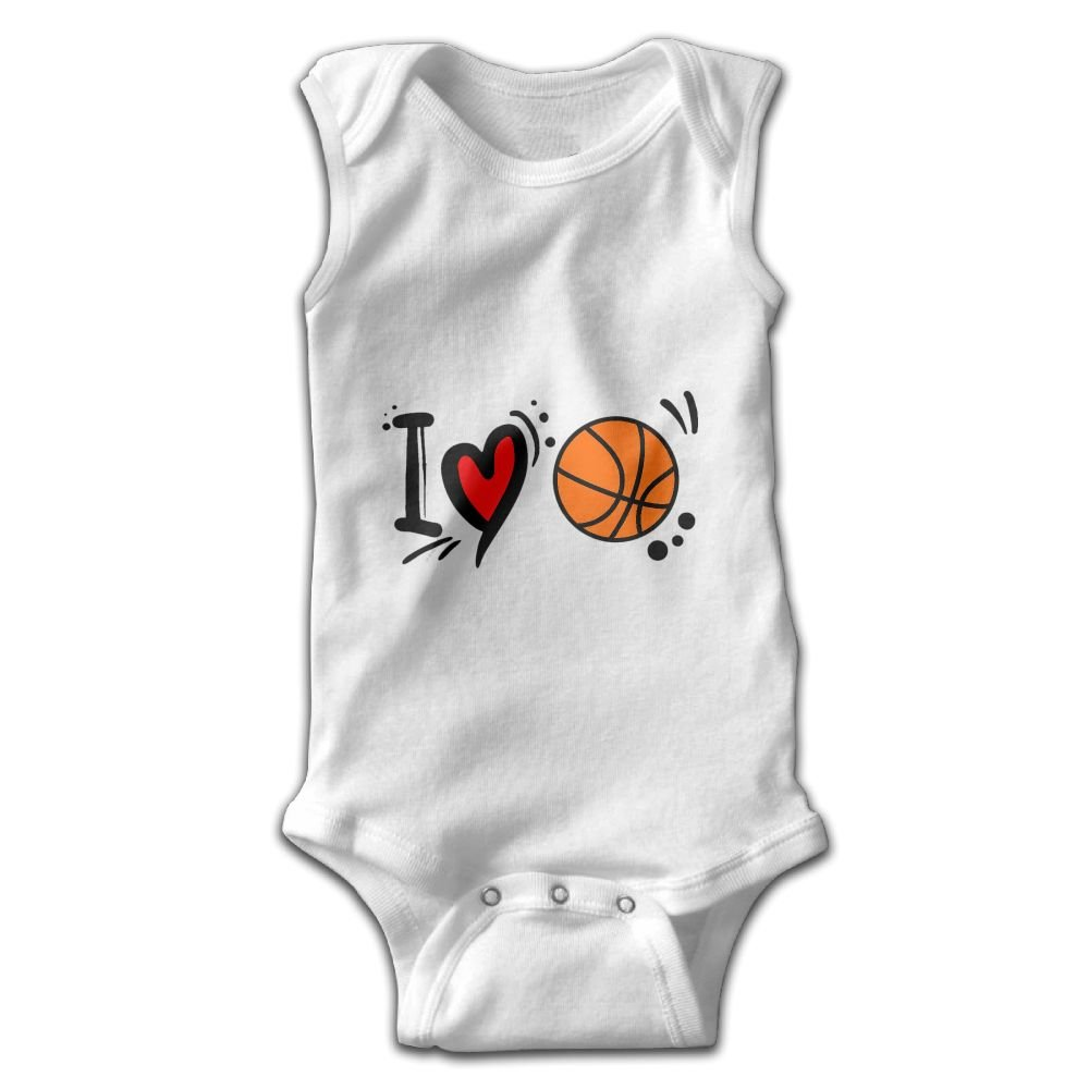 Toddler Baby Boy/¡/¯s Rompers Sleeveless Cotton Onesie I Love Basketball Print Outfit Stylish Jumpsuit Summer Pajamas Bodysuit