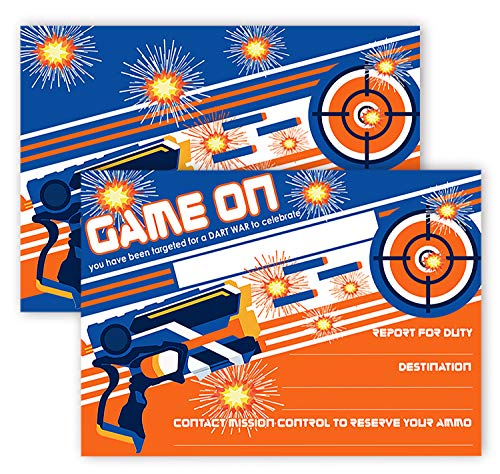 POP parties Dart Gun Party Invitations - 12 Invitations + 12 Envelopes - Dart War Party Invitations - Dart War Party Decorations