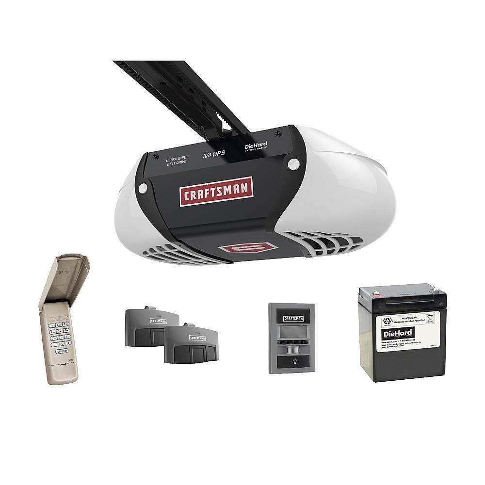 Craftsman 54918 3/4 Horsepower DieHard Battery Backup Ultra-Quiet Belt Drive Garage Door Opener