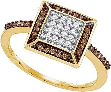 Amazon.com: GemApex Square Brown Diamond Cocktail Ring
