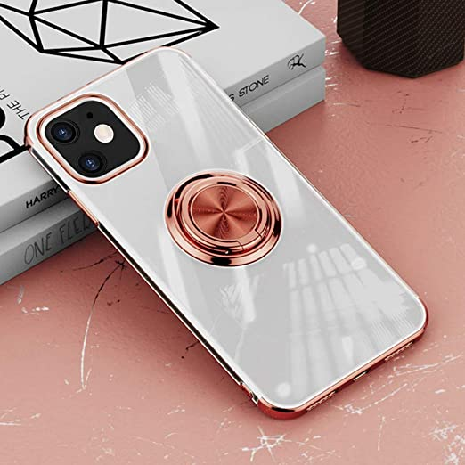Yxiuexur Compatible with iPhone 12 Mini Case, Slim Clear TPU Plating Cover 360 Rotatable Ring Holder Kickstand Support Car Mount Protective Phone Case ...