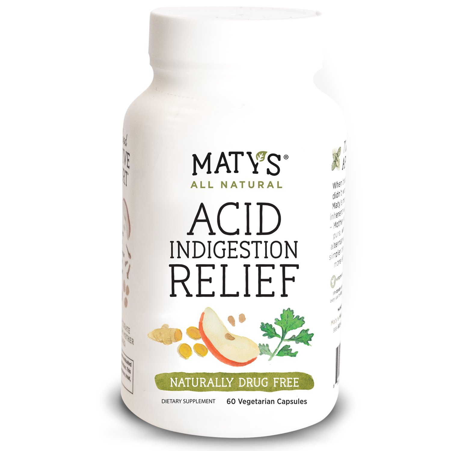 Maty's All Natural Acid Indigestion Relief Capsules, 60 ct, All Natural, Healthy Ingredients to Ease Symptoms of Acid Indigestion Heartburn GERD and Acid Reflux, Promotes Healthy Stomach Acid Levels