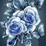 Ukerdo DIY Diamond Painting Blue Roses Pictures Elegant Handmade Wall Art