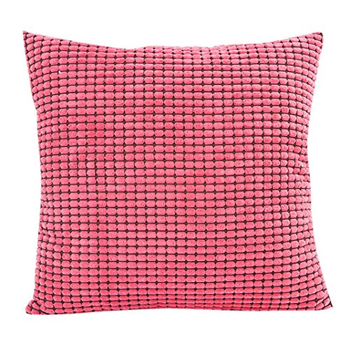 Pillow Case,Bokeley Corduroy Square Festival Plaid Decorative Throw Pillow Case Bed Home Decor Cushion Cover (Watermelon Red)