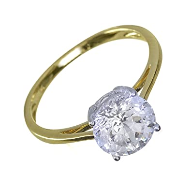 Ivy Gems 9ct Yellow Gold 2ct Finest 100 Cut Swiss Cubic Zirconia Round Solitaire Ring PR3Xtl1
