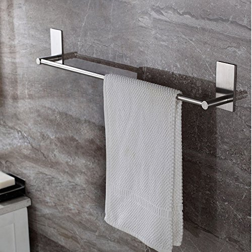 Songtec Bathroom Towel Bar 16inch, Easy Install with Self-Adhesive, NO Drilling on Walls, Premium SUS304 Stainless Steel - Brushed