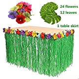 Hawaiian Luau 1pc Green String Grass Table Skirt + 12pcs Tropical Faux Palm Leaves + 24pcs Hibiscus Flowers for Tabletop Decoration Jungle/Beach Party Supplies