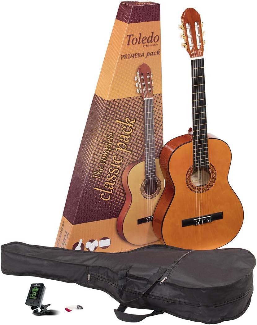 Toledo pack de iniciación 4/4 guitarra clásica española con funda, afinador y puas - rockmusic