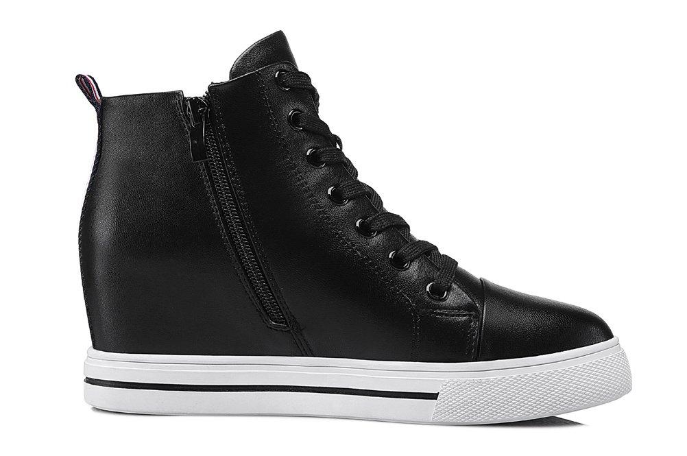 Youxuan Women's Fashion Flat Walking Shoes Zipper Girls Ankle High Casual Elevator Shoes Black 7M US by Youxuan (Image #3)