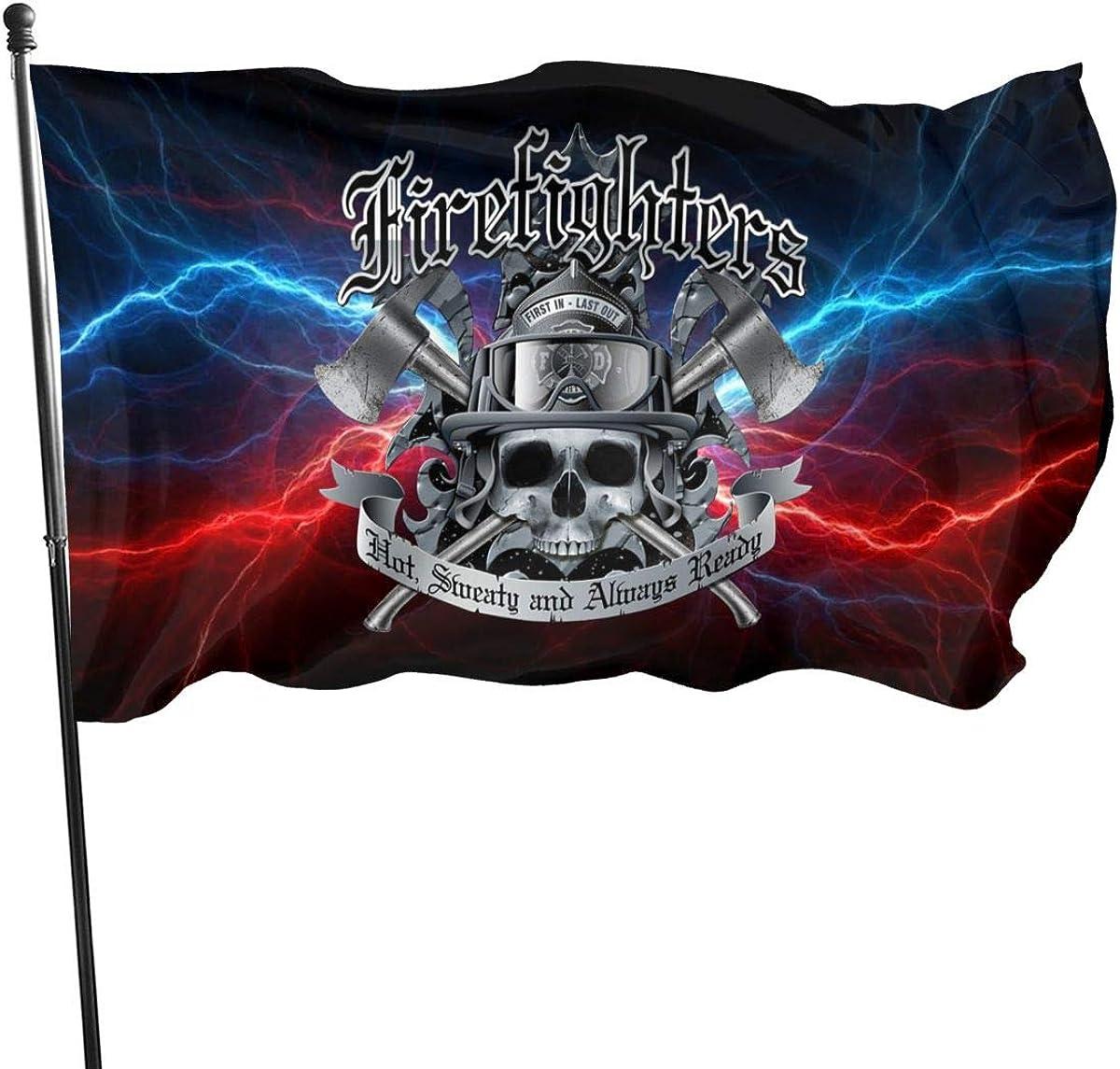 Firefighters Ready 3x5 FT American Flag, Outdoor Banner, Family Banner, Garden Banner Black