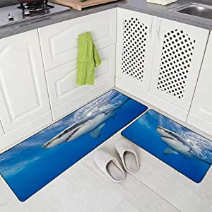 Doocilsh Kitchen Rugs,Kitchen Rugs Washable for Women and Men,17X48+17X24Inches Great White Shark Underwater Island Mexico Carcharias at Guadalupe Kitchen Rug