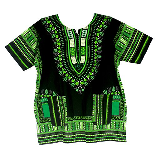 (Vipada Handmade Traditional Dashiki Shirt for Men and Women Black and Green L)