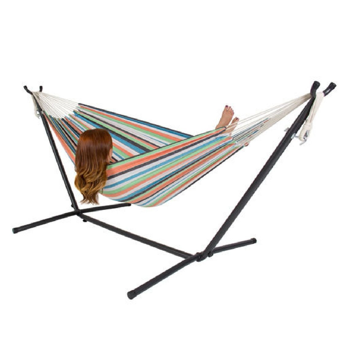 Double Hammock with Space Saving Steel Stand Includes Portable Carrying Case by BEC