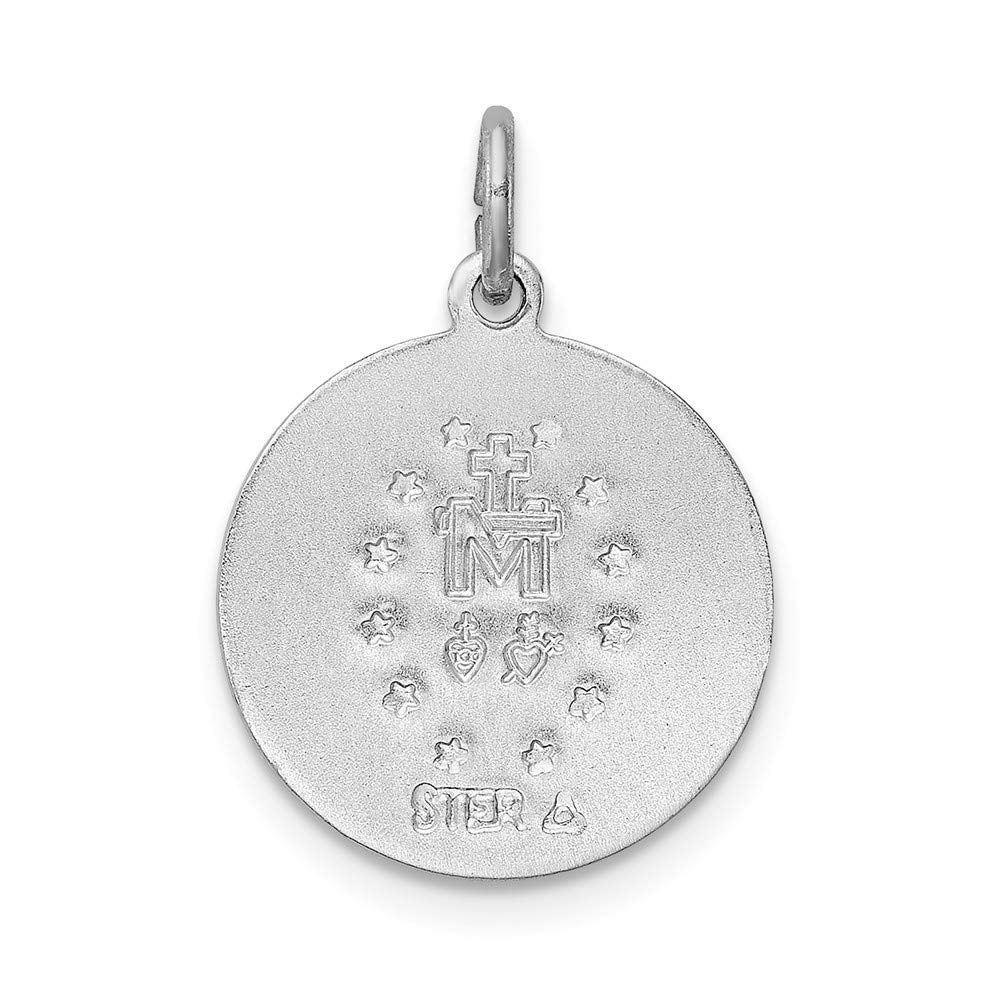 Jewel Tie Sterling Silver Polished Epoxy Miraculous Medal Pendant 14mm x 20mm