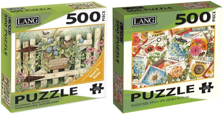 The Lang Companies Garden Gate 500-Piece Puzzle and Seed Packets 500-Piece Puzzle Bundle (2 Items)