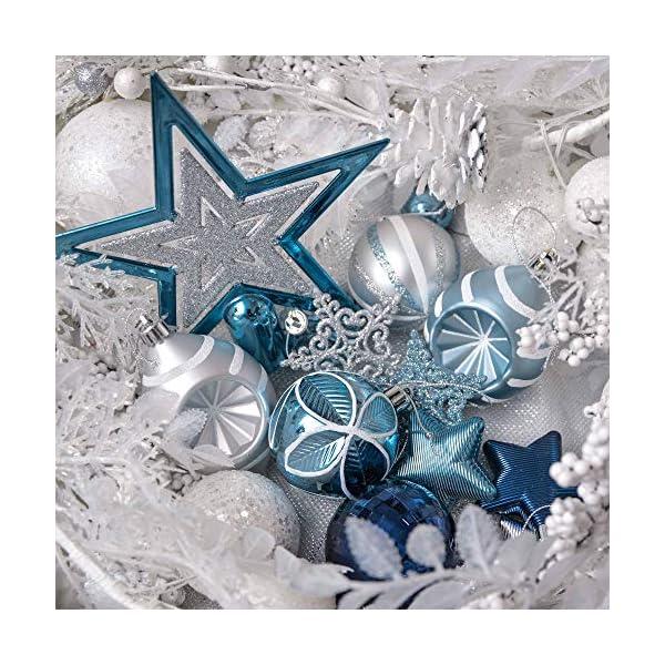 Valery Madelyn Palle di Natale 70 Pezzi di Palline di Natale, 3-10 cm Auguri Invernali Argento e Blu Infrangibili Palle di Natale Ornamenti Decorazione per la Decorazione Dell'Albero di Natale 7 spesavip