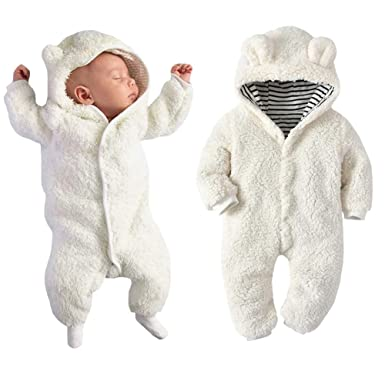 9cf352d18104 Amazon.com  Newborn Baby Boy Girl Bear Ear Hoodie Romper Stripe ...