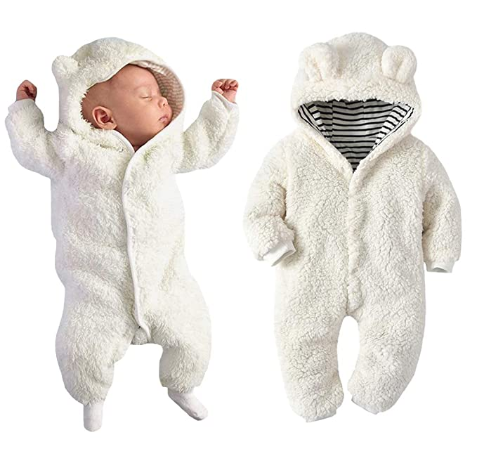 6b15f783a Newborn Baby Boy Girl Bear Ear Hoodie Romper Stripe Winter Fleece Warm  Jumpsuit White