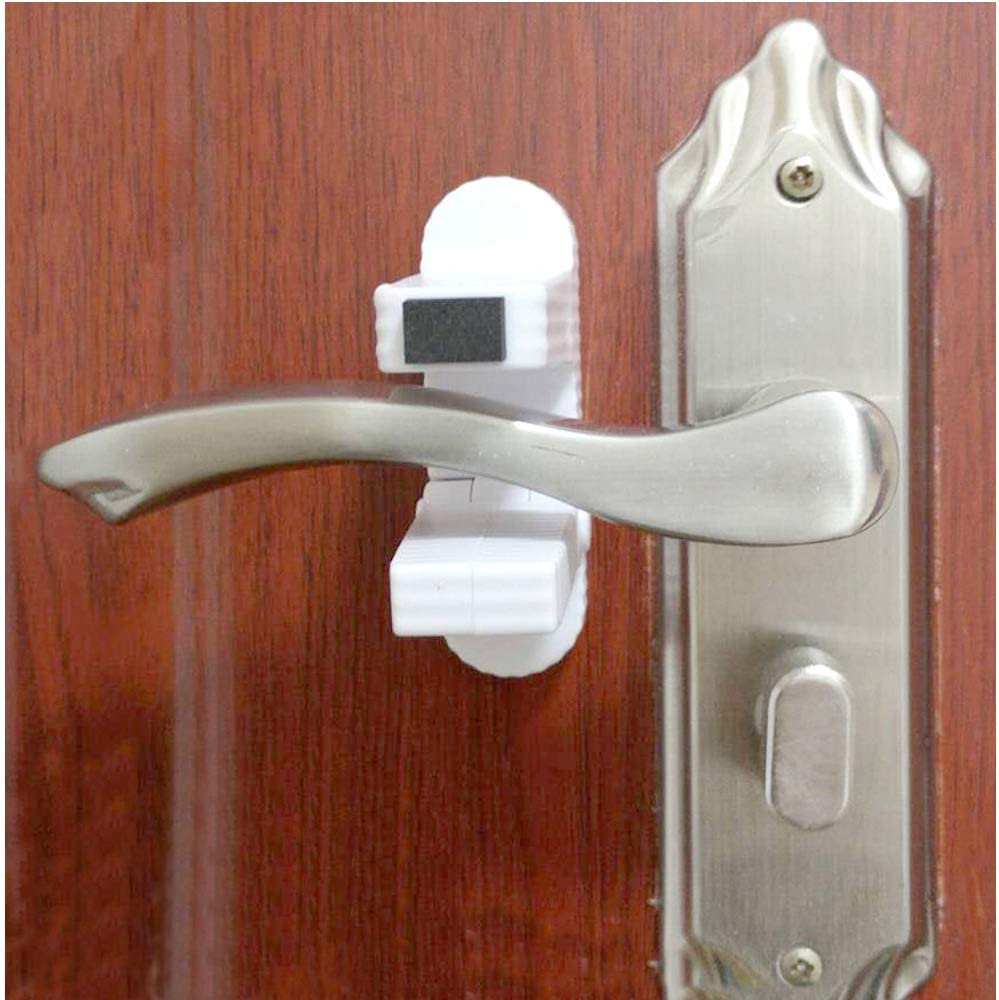 4 Pack Childproof Door Lever Lock, Child Safety Prevents Child/Pets from Opening Doors, Child Proof Doors Handles and 3M Adhesive Backing