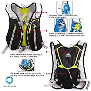 Geila Sport Outdoors Trail Marathoner Running Race Hydration Vest Hydration Pack Backpack with 1 Water Bladder (Black+1.5L water bladder)