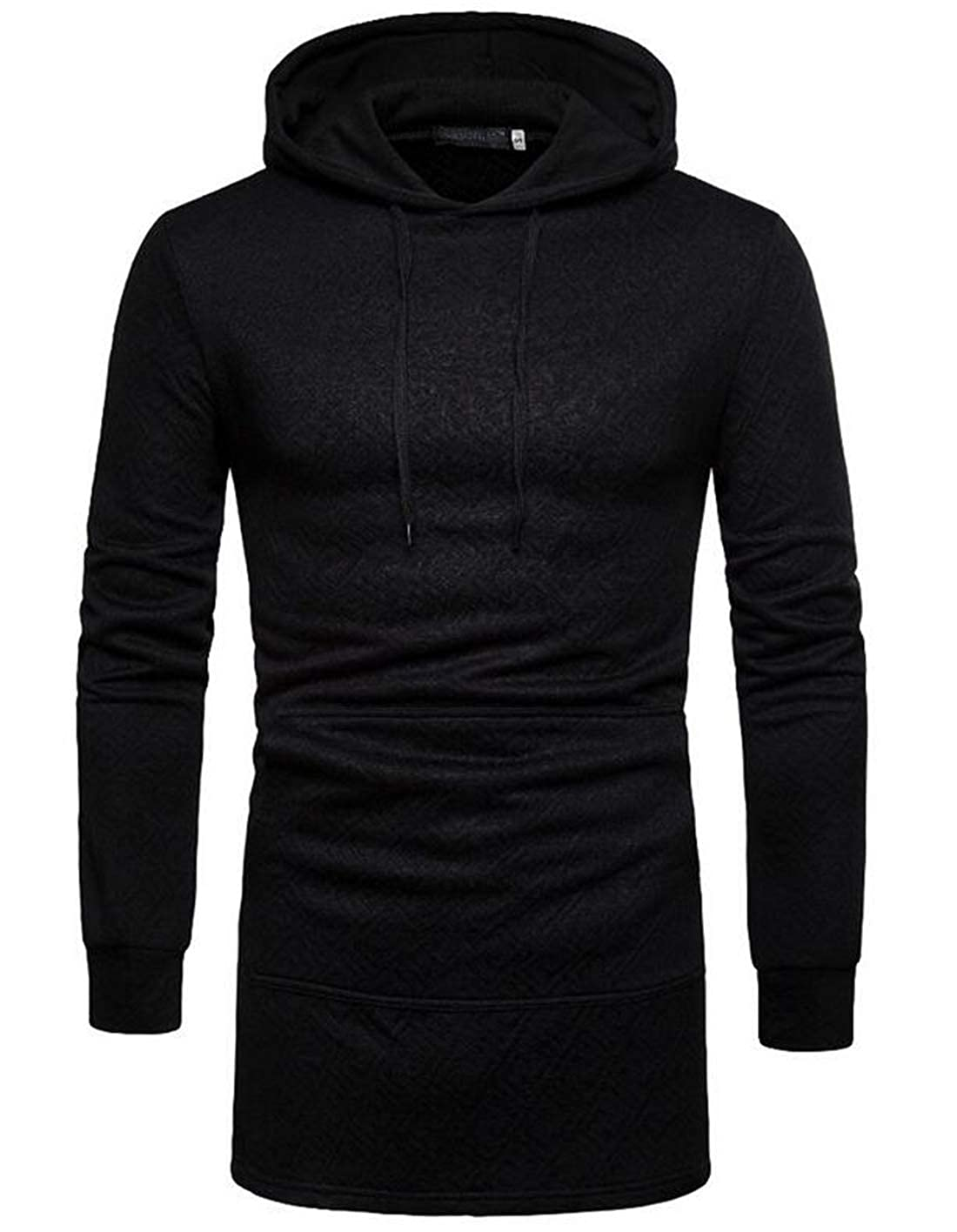 Spirio Mens Casual Long Sleeve Hooded Drawstring Patchwork Camo Print Pullover Sweatshirt