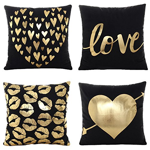 Grey /& Gold WOMHOPE 2 Pcs 2 Pcs 17 Geometry Gold Hot Stamping Super Soft Short Fuzzy Cushion Decorative Pillow Covers Square Throw Pillowcase Cushion Covers for Sofa,Bed