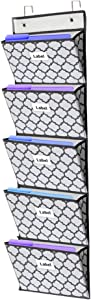 Over The Door Hanging File Organizer Wall Mounted, Office Supplies Storage Holder Pocket Chart for Magazine,Notebooks,Planners,File Folders,5 Large Pockets White with Grey Lantern Printing