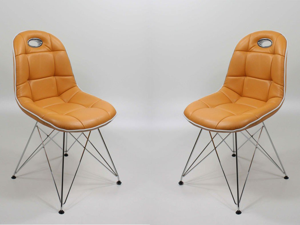 Stuhlgruppe Anabel Trapezgittergestell verchromt Kunstleder mandarin Designerstuhl Schalenstuhl Stuhl, Set-Inhalt:8er-Set - 8 Stück
