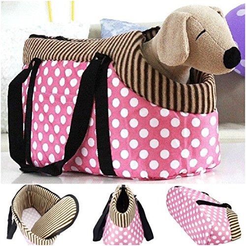 Marvelous Popular Pet Handbag Size M Shoulder Tote Kennel Pouch Travel Carrier Color Pink Dots (Cobra Cross Costume)