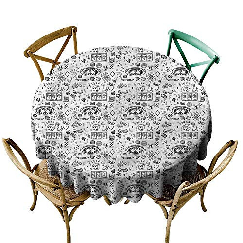 LsWOW 54 Inch Outdoor Round Tablecloth Casino Sketch Roulette Whisky Cigar Perfect for Spring Summer Farmhouse Décor & ()