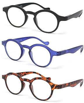 c8e0999886e29d Lot 3 lunettes de lecture rondes tendances avec charnières à ressort Kleyn  (+3,