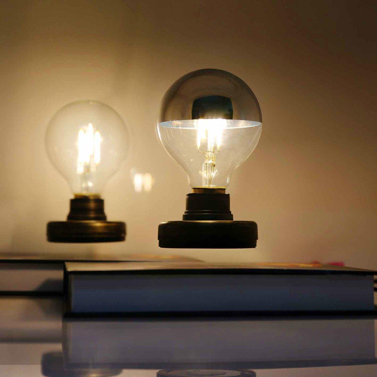 Levitating Light Bulb Lamp Magnetic Levitating Floating Light Bulb with Wireless Gifts, Room Decor, Night Light, Home Office Decor Desk Tech Toys